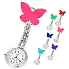 Enfermera Con Clip De Bolsillo Broche Colgante Mariposa Reloj Cuarzo Nuevo