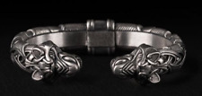 Viking Stainless Steel Bracelet  Odin Wolf Heads Celtic Knot Norse Arm Ring
