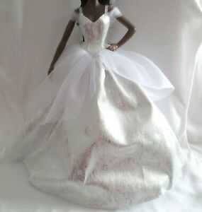 NEW! 2021 Barbie Holiday Doll White & Silver Gown Long Dress Model Muse Clothing