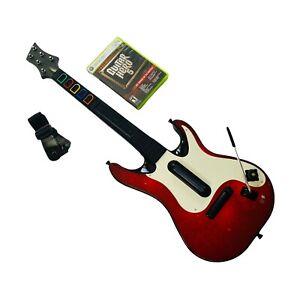 Xbox 360 Guitar Hero 5 Bundle | Red/White Wireless Guitar Controller & GH5 Game