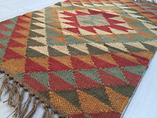 Small Kilim Rug Wool Jute Indian 60x90cm 2x3' Kelim Maroon Brown Handmade Afgan