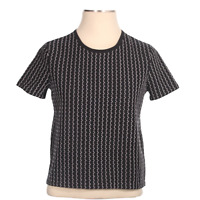Saks Fifth Avenue Womens Striped Round Neck Pullover Black T Shirt Top Size M