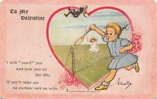 """E Curtis~Girls Play Tennis With Boy as Ball~""""Court You""""~TUCK Leap Year Valentine"""