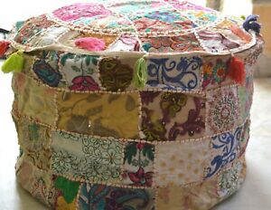 Indian Beige Round Ottoman Pouf Cover Embroidered Patchwork Ethnic Floral Pouf
