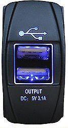 Narva Quality 12/24V - 5V 3.1A Dual USB Blue LED Illuminated Socket