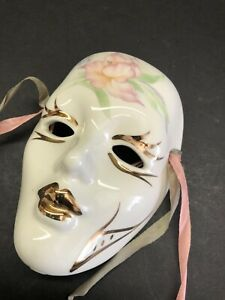 """Vintage Small Wall Hanging Porcelain Mask With Gold Accent 5"""" x 3.75"""