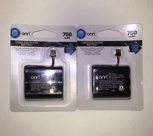 LOT OF 2 Onn Cordless Phone Battery 3.6V 700 mAh NiMH Batteries ONB16TE005
