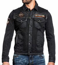 NWT Affliction American Customs BIKE CUTTER Men's Black Denim Jean Jacket Size M