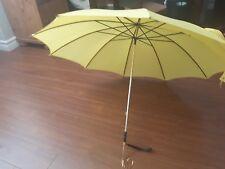 VTG SCHERTZ yellow NYLON umbrella with leather/ metal handle grip USA France