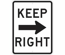 "Keep right stay to the right turn warning USA 12"" x 8"" Aluminum Sign"