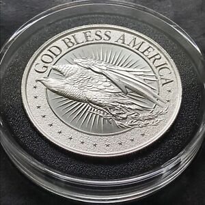 Limited Mintage GOD BLESS AMERICA 2 oz 999 Pure Silver Eagle Patriot