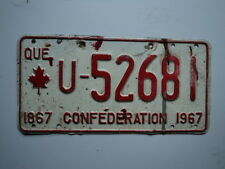 1967 QUEBEC CANADA Confederation License Plate U 52681 Can