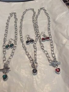 TOGGLE HEART SILVER NECKLACE WITH MATCHING EARRINGS EMERLAND/ GARNET/ SAPPHIRE