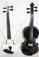 4/4 Geige Violine mit Koffer, Gurt, Bogen in schwarz oder weiss