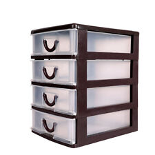 4 Drawer Mini Desktop Organizer Tower Plastic Storage Box Cabinet Office Bin