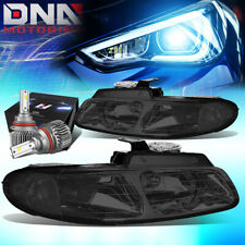 FOR 1996-1999 DODGE CARAVAN OE STYLE HEADLIGHT LAMPS W/LED KIT SLIM STYLE SMOKED