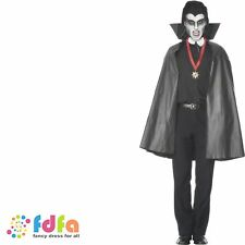 "BLACK PVC VAMPIRE DRACULA CAPE - 45"" long - mens halloween fancy dress costume"