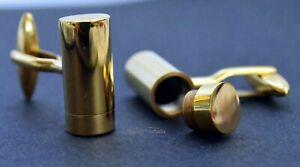 CREMATION URN KEEPSAKE CUFFLINKS 24k GOLD PLATED CYLINDER ASHES STASH WEDDING