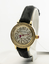 Betsey Johnson Women's Gold-Tone Crystal Embellished Watch BJ00251-19, New