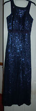 NEW Sz 8 Midnight Blue Sequin Maxi Party Dress Kick Pleat Satin cummerbund
