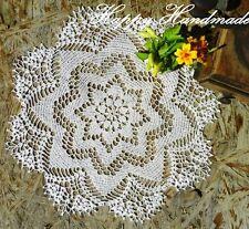 HaHa Large White Linen Crochet 42cm (16,5'') Round Doily / wedding