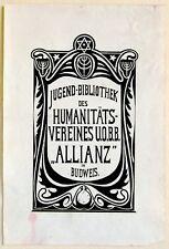 1920 Czech JEWISH Bookplate EXLIBRIS Judaica JUGENDSTIL ART NOUVEAU Budweis