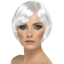 WHITE BABE WIG BOBBED SHORT BOB LADIES FANCY DRESS PARTY COLOUR BLUNT GHOST FUN