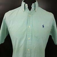 Ralph Lauren Mens Shirt MEDIUM Short Sleeve Green Classic Fit Check Cotton