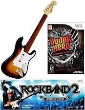 NEW Nintendo Wii Rock Band 2 Wireless Sunburst Guitar & G Hero Warriors of  Rock