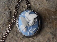 BUTTERFLY (WHITE ON SKY BLUE) ANTIQUED SILVER PLATED LOCKET - WEDDING, BRIDAL