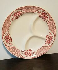 Vintage Syracuse China Divided 3 Sections Plates Roxbury Red Restaurant Ware