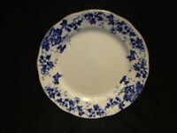 Antique England John Royal Vitrcovs Plate with Blue Flowers And Gold Border