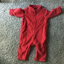 Baby Gap Romper 6 - 12 Mo Red Corduroy Lined Button Front Coverall Long Sleeve