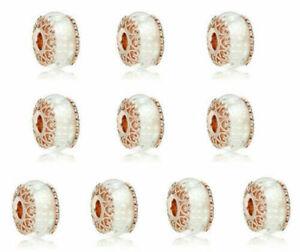 10pcs European Rose Gold Charm Beads For Bracelet Necklace Pendant Chain