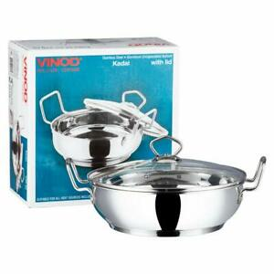 Vinod Stainless Steel Induction Base Kadai Wok With Glass Lid Frypan All Hobs