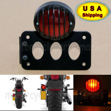 Black Axle Shock Mount License Plate Bracket STOP Grill Taillight Cafe Racer CB