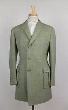 New D'AVENZA HARRIS TWEED Green Tweed Wool 3/4 Length Coat 50/40 R $3795