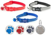 Cat Collar Ancol Reflective Gloss, Red, Blue Or Silver With 25mm Glitter Id Tag