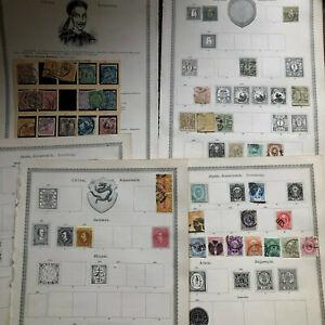 Japan , China  - Briefmarkensammlung ab 1871 auf 5 Vordrucken mit vielem Spitzen