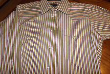 "Nwt FlYING ""R"" RANCHWEAR  Men's L/S Snap front shirt Multi Striped  15  x 33"