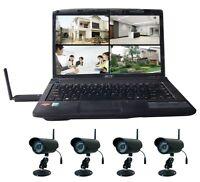 Wireless 4 Video Camera 4CH Home Security Surveillance IR CCTV USB DVR System