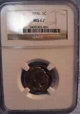 1936 Buffalo Nickel MS-67 NGC Gem++ OUTSTANDING BUFF $121 below list price!