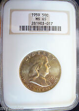 1959 Franklin Silver Half Dollar, NGC  MS65, Gold toning with some spotting!