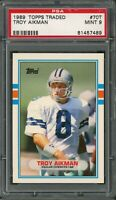 Troy Aikman Dallas Cowboys 1989 Topps Traded Football Rookie Card #70T PSA 9