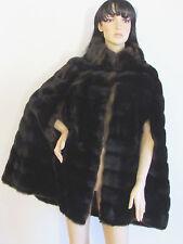 Women's Coats Capes Vintage Tissavel France Dark Brown Horizontal Pattern M/L