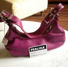 PERLINA  Magenta Purple Leather Hand Bag MINT CONDITION- Silver Hardware Fashion