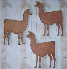 Set of 3 dark plywood Llama shapes decoration 15cm tall to paint & embellish