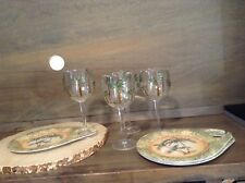 4 KELLER CHARLES MELAMINE SNACK PLATES WITH LARGE BOWL WINE GLASS MELAMINE