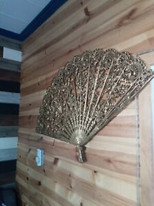 Vintage Burwood Filigree Oriental Fan Wall Hanging #4402