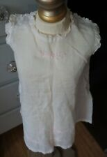 Antique! Slip Dress Pink Embroidered Flowers for Composition Bisque Baby Dolls
